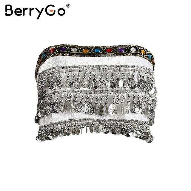 BerryGo Tassel beading velvet top tees Summer lace up punk crop top Sexy gold sequin tank top coin chain tube top