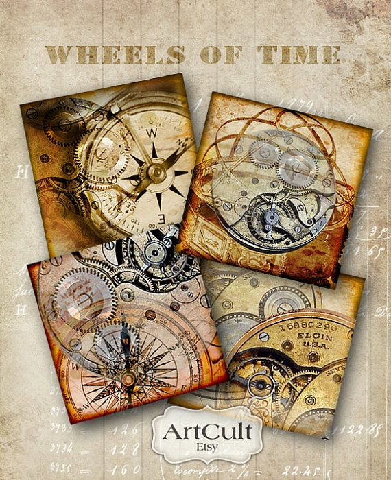 WHEEL OF TIME - Printable Digital Collage Sheet for Coasters Greeting Cards Steampunk Gift Tags Vintage Paper Craft