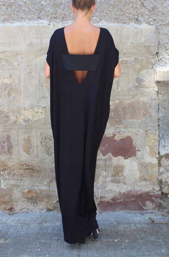 Caftano Black Dress Oversized vestito vestito scollato Maxi
