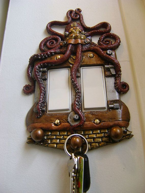 Red Octopus Steampunk Rocker style Light Switch Cover with Keychain Hanger. Animal wall Art Home Decor Wall Decor Sculpture