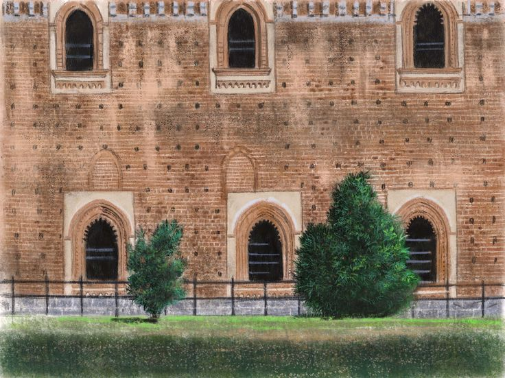 plein aire sketch at the Sforzesco castle, Milano. September 2016