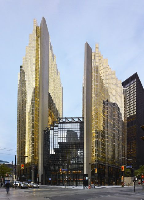 Royal Bank Plaza building in Toronto, Canada layered it's 14,000 windows with a thin sheet of GOLD!