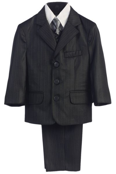 Charcoal Grey Pinstripe 5 Pc Dress Suit Boys (3760)