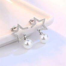 Marca de moda jóias de prata Meninas imitação de pérolas de luxo estrela de cinco pontas-Brincos Do Parafuso Prisioneiro personalidade exagerada brincos 8 MM(China (Mainland))