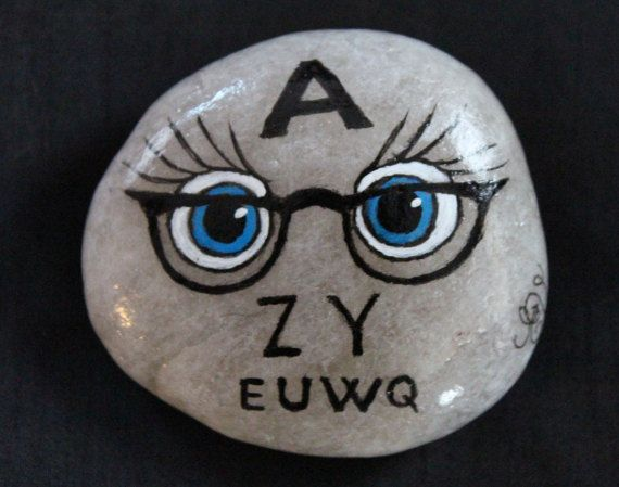 Hand painted stone/ Eye doctor/ quirky/ glasses/ vision/ doctor's office/ eyelashes