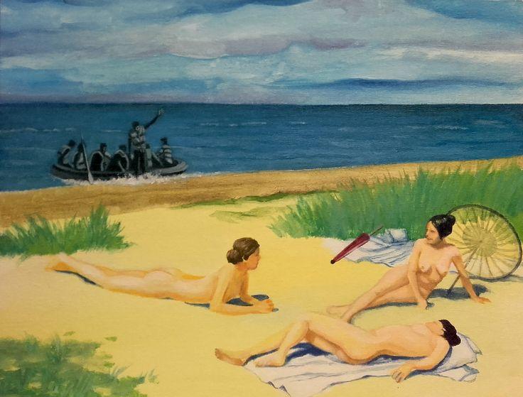 """""""Bañistas en la playa"""", homenaje a Paul Gustave Fischer. Acrílico sobre cartón entelado. (2015)"""