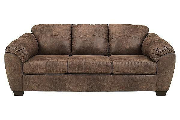 """The Jathan Sofa from Ashley Furniture HomeStore (AFHS.com). With the rich padded faux leather upholstery beautifully adorned with stylish stitched details, the """"Jathan-Mocha"""" upholstery collection features the comfort of plush padded arms and supportive back and seating cushions all wrapped within a comfortable contemporary design that is sure to enhance the décor of any home."""