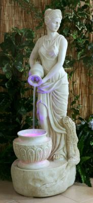 Lady Liberty Water Feature with Lights - Ivory