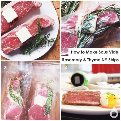 How to make sous vide rosemary & thyme NY strip steaks | Nomiku