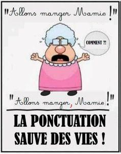 La ponctuation sauve des vies ! Let's go eating Grannie / Let's go eating, Grannie. Ponctuation saves lifes!!!