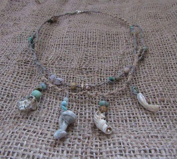 Organic Macrame Crystal Necklace Sea Shells Hemp by tinkertailoruk