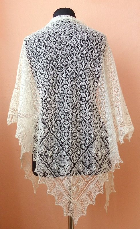 Hand knitted triangular lace shawl with Haapsalu shawl pattern- CUSTOM MADE. $109.00, via Etsy.
