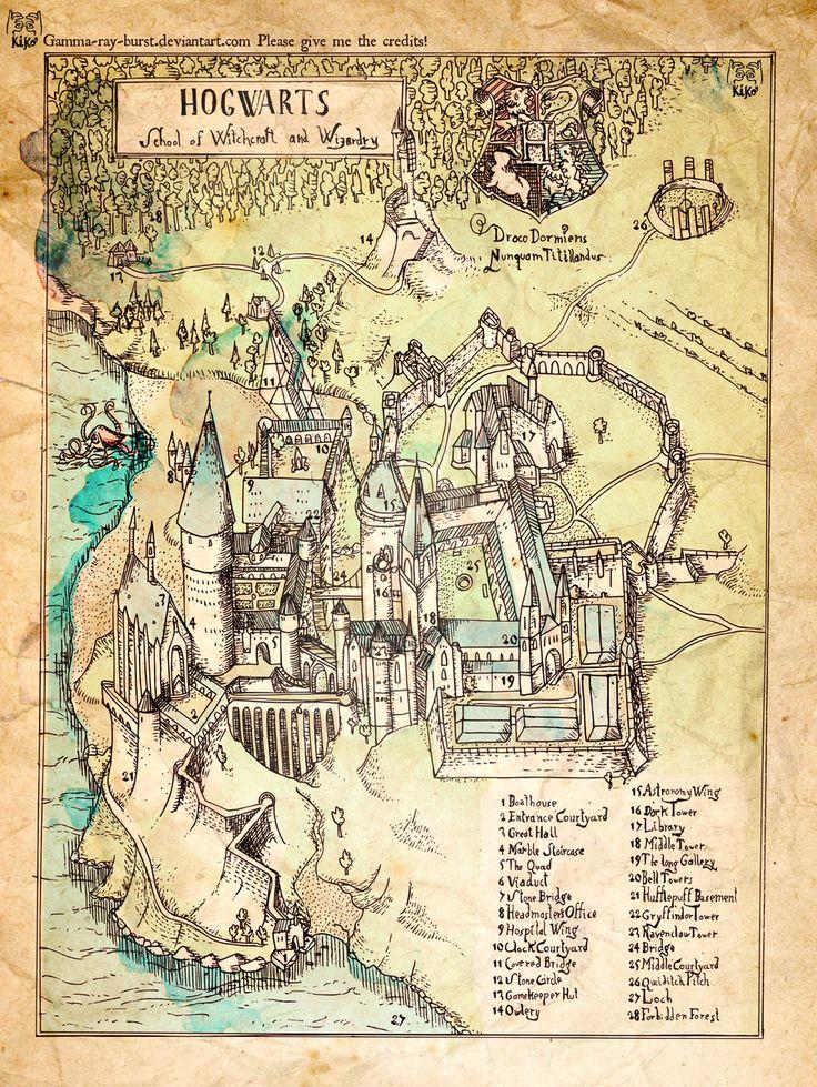El mapa de Hogwarts, la escuela de magia de Harry Potter: | Hogwarts, Poniente y otros 24 mapas flipantes de lugares de ficción
