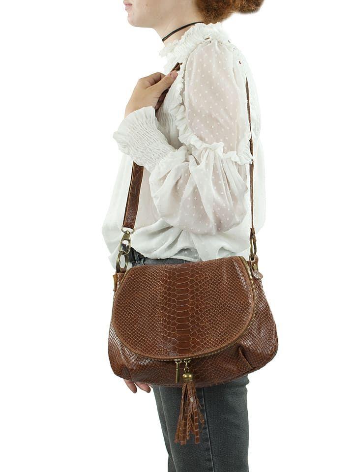 Skórzana torebka w kolorze brązowym - 29 x 24 x 8 cm - Spécial maroquinerie - torebki - Limango