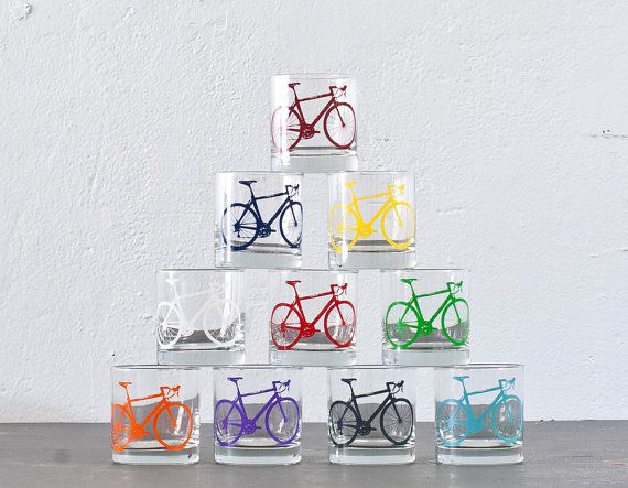 The whole lot - screen printed bicycle old fashioned glasses, set of 10 for $75 on Etsy shop: Vital.