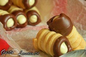 Cornete de casa cu ciocolata si crema mascarpone