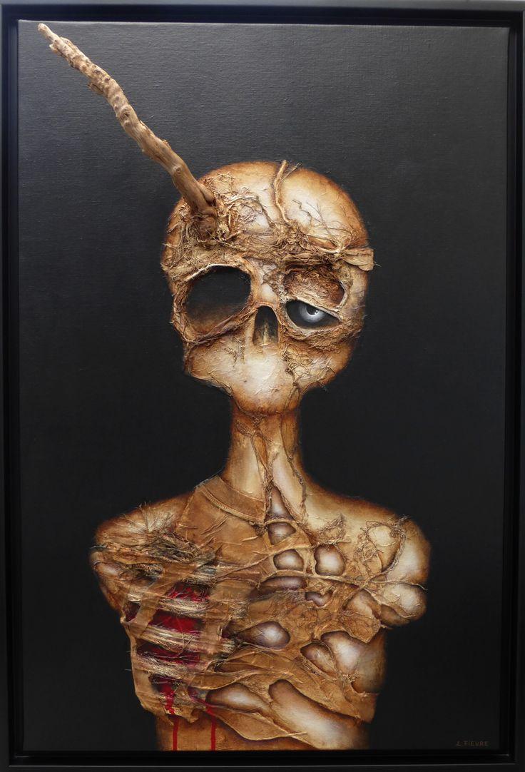 Messiah © Laurent Fièvre - Canvas (acrylic, rope, fabric, cotton yarn, silk paper, driftwood) - 81 x 54 cm - 2015
