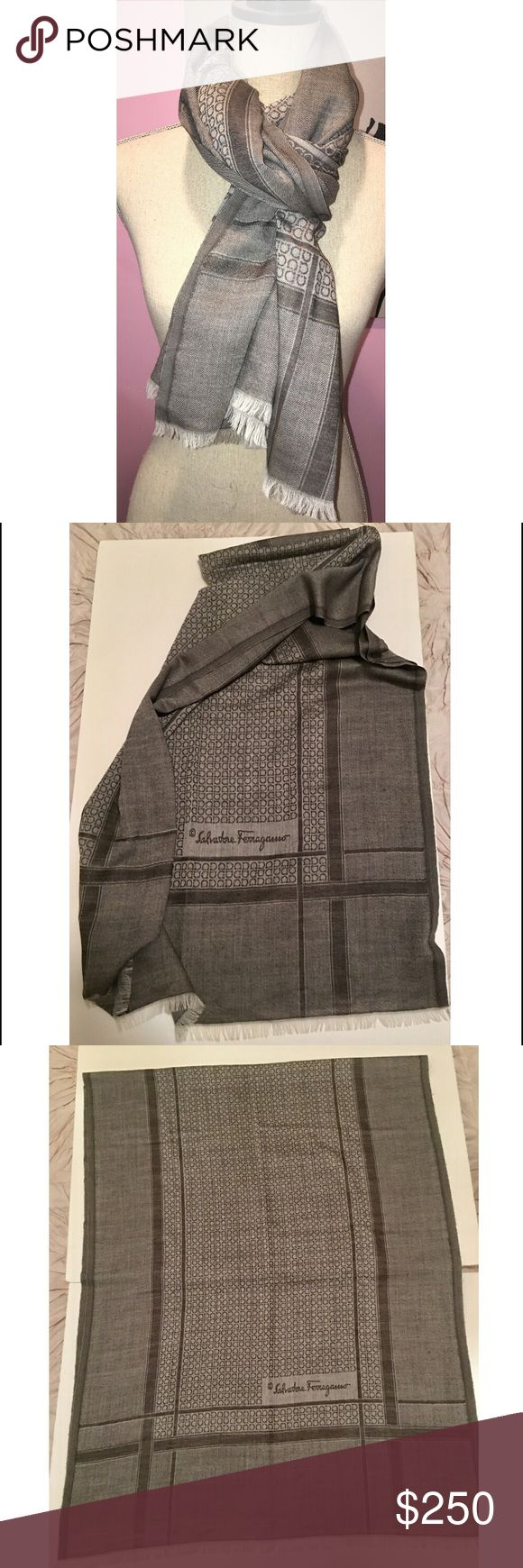 Salvatore Ferragamo Gancini Scarf Shawl Logo Large Authentic New w/o tags. Made in Italy. Made of wool/cashmere blend large scarf shawl. Made in Italy. Can be used for man or woman. The Gancini pattern print logo. Scarf reversible. Fringe at both ends. Color is taupe and brown. Makes a perfect holiday gift for yourself or someone you love. Picture #3 the scarf is still folded in half. It's large and lightweight. Truly perfect! Salvatore Ferragamo Accessories Scarves