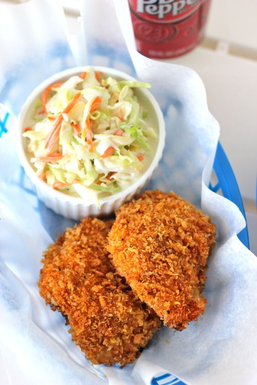 Oven-Fried Chicken with Homemade ColeslawColeslaw Food, Yummy Food, Ovenfried Chicken, Cookbooks Recipe, Ovens Fries Chicken, Homemade Coleslaw, Chicken Breast, Damn Delicious, Recipe Chicken