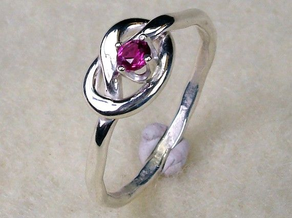 Love Knot Sterling Silver with Ruby CZ July Birthstone Ring - Would love one with my birthstone!
