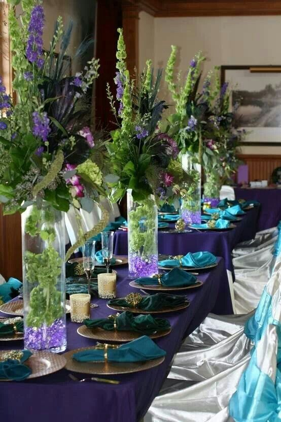 Blues Amp Greens Wedding Table Bridal Shower Centerpieces