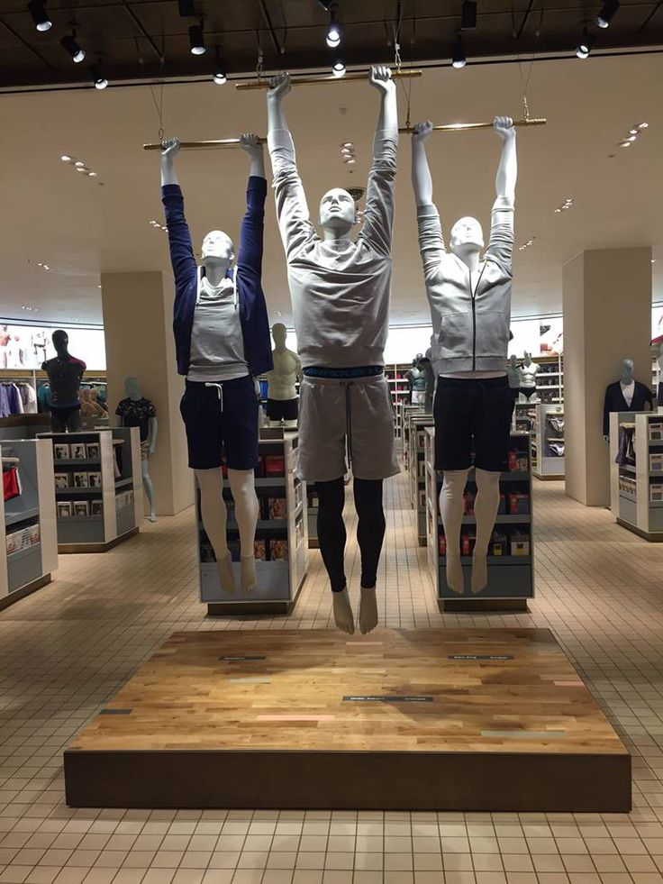 """SELFRIDGES,London,UK, """"OK guys....The essential is to excite the customers . If that means playing Hamlet on a flying trapeze or in a aquarium....YOU DO IT!"""", Athletix Male Collection from GENESIS Mannequins, pinned by Ton van der Veer"""