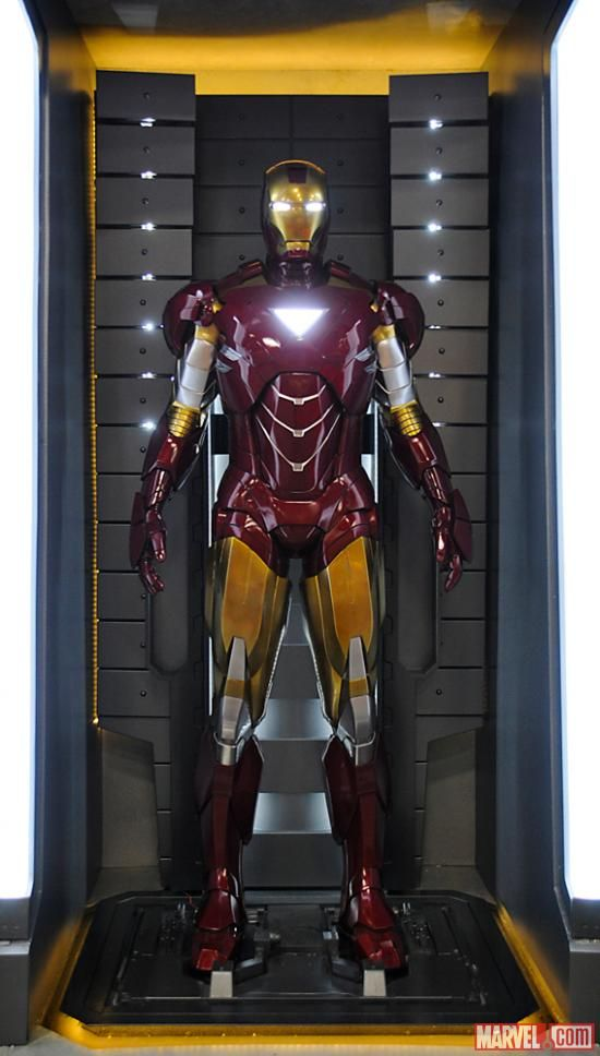 The Iron Man Mark VI armor at the Marvel San Diego Comic-Con booth.