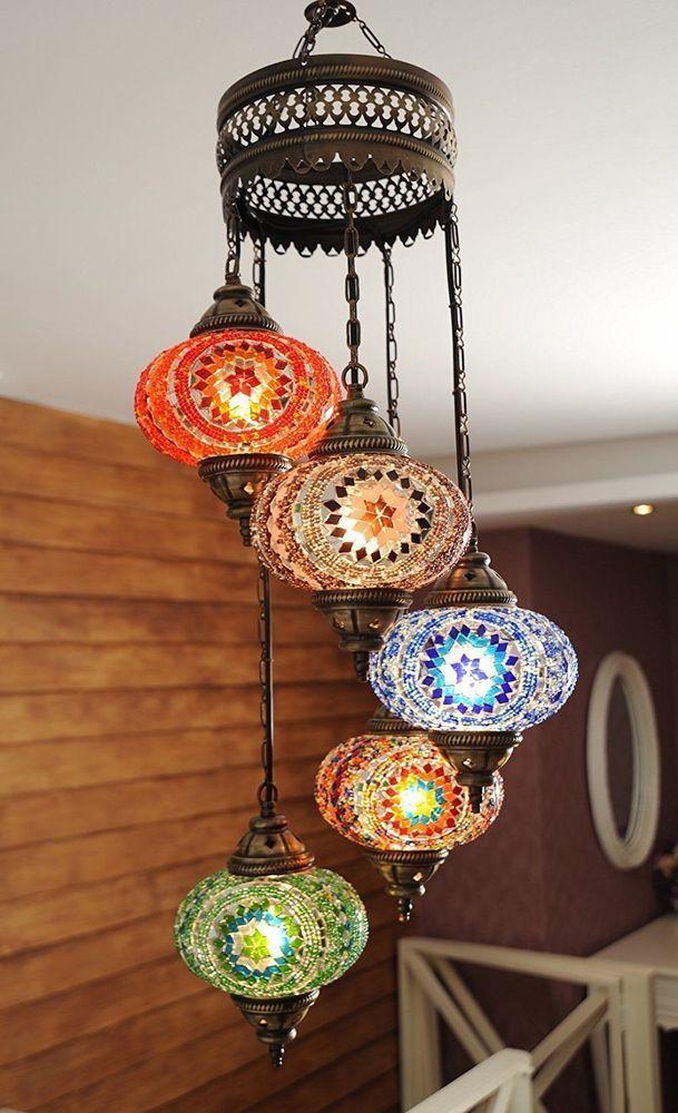 Turkish Authentic 5 Globe Mosaic Chandelier Mosaic Lamp Moroccan