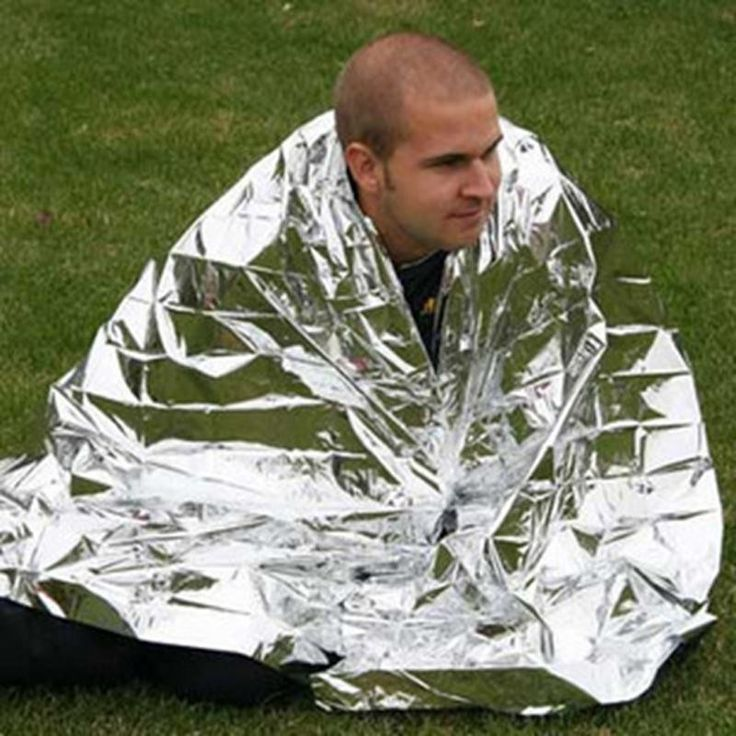 This large size mylar emergency blanket could literally save your life. Its silvery surface maintains your temperature reflecting back 90% of your body's heat. Can be used as shelter or blanket. Pack