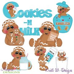 Cookies N Milk Gingers SVG Cutting Files Includes Clipart