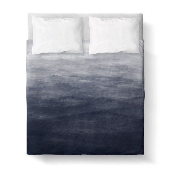 Navy Blue Grey Watercolor Ombre Duvet Cover/ by KaliLaineDesigns