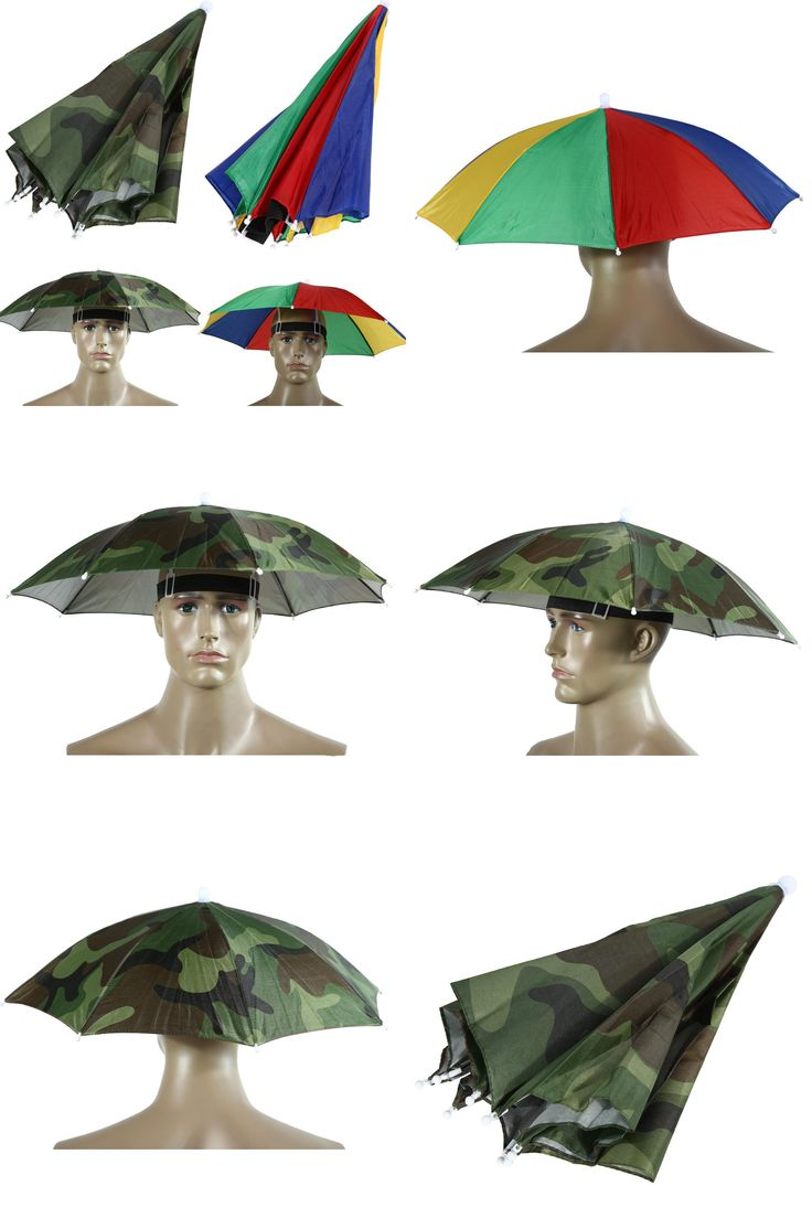 [Visit to Buy] 2017 2 Color 55cm Umbrella Hat Sun Shade Camping Fishing Hiking Festivals Outdoor Brolly #Advertisement