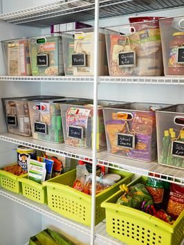Assorted bins are an easy way to keep your pantry organized.