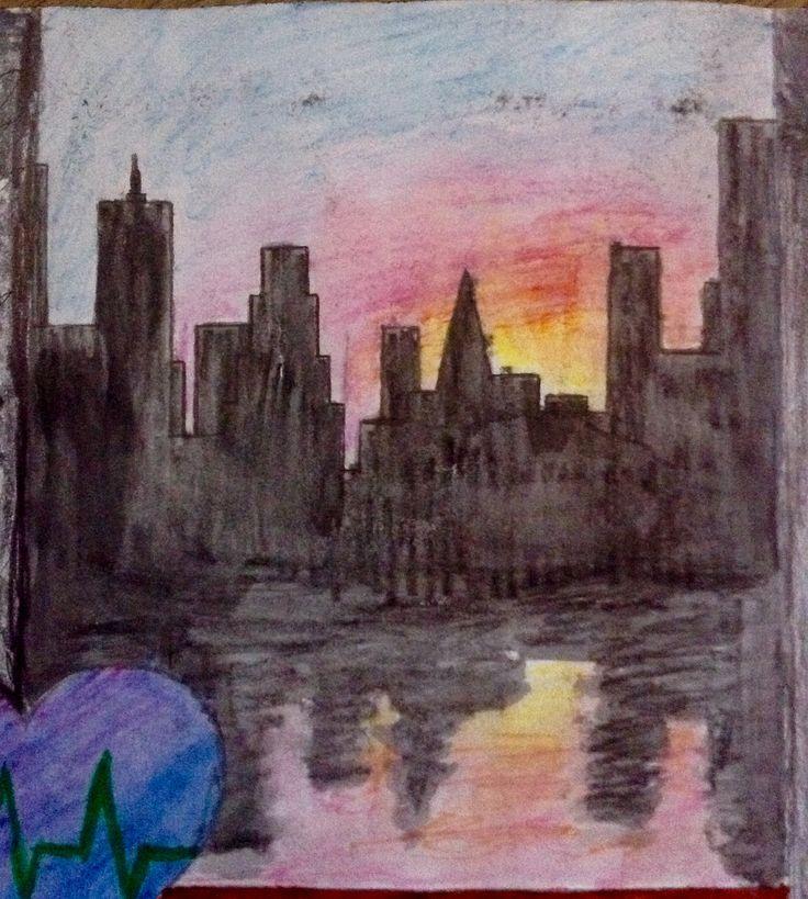 Watercolour city skyline