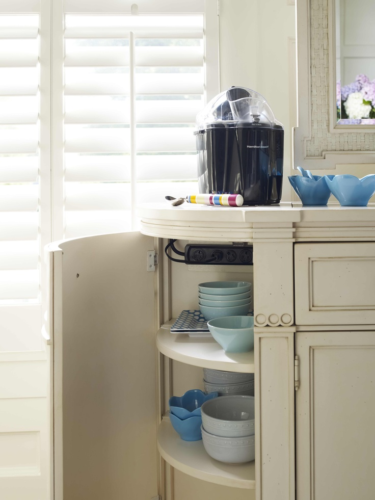 Such an awesome storage idea! Who would have thought of adding a cupboard there!