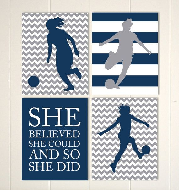 Soccer room decor soccer girl wall art girls by PicabooArtStudio