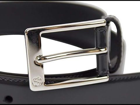 f27f22a2767 Gucci Men s Square Dark Gray Patent Leather Belt with GG Detail Buckle  Leather Belts