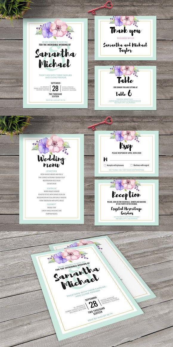 Pastel Wedding Invitation Set. Wedding Card Templates