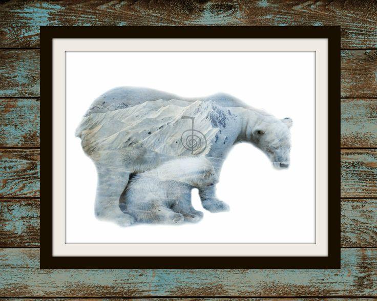 Reiki infused art, polar bears, endangered species, downloadable prints, wildlife prints, choku rei, polar bear nursery instant downloadable by PrintableLoveStore on Etsy