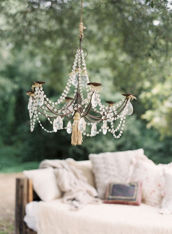 Drape an old chandelier with beads for your gardenCrystals Chand, Outdoor Wedding, Ideas, Outdoor Seats, Chandeliers, Outdoor Lounges, Gardens, Outdoor Chand, Outdoor Spaces