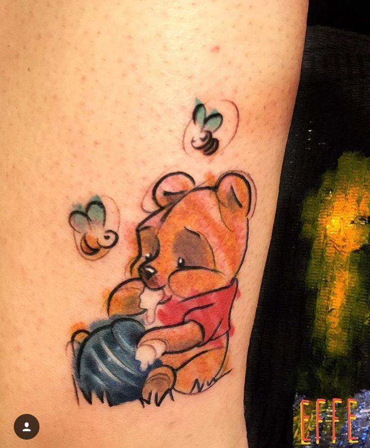 Disney Winnie the Pooh Bear sketchy tattoo