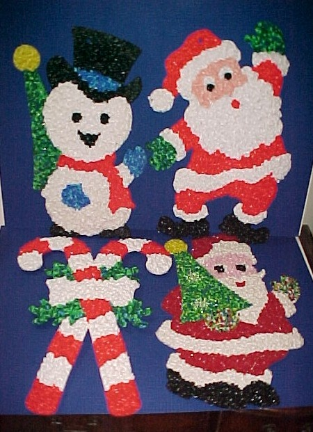 Melted Plastic Popcorn decorations.  Lots of teachers used these on the bullentin boards or door decorations.  I had the Santa (without the tree)