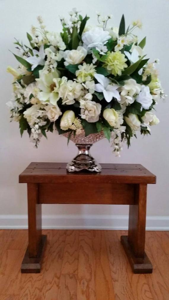 Extra Large Elegant Monochromatic Floral Arrangement Dining Room