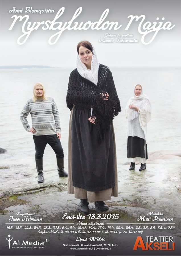 An amateur theatre poster for Myrskyluodon Maija (Stormskärs Maja). The play was performed in Teatteri Akseli (Turku, Finland) in Spring 2015. The poster is designed and made by Finnish graphic designer Ikaros Ainasoja and photographed by Mika Kurkilahti. #ikarosAinasoja #theatre #poster #amateurTheatre #graphicDesign #teatteriAkseli
