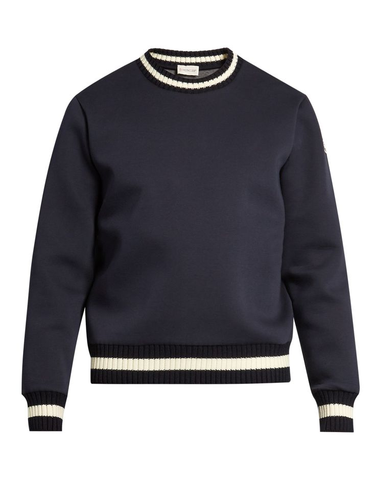 Contrast-edge neoprene sweatshirt | Moncler | MATCHESFASHION.COM Moncler's navy sweatshirt is cut from spongy neoprene, and detailed with white striped trims to accentuate the slim, true-to-size fit. It's a classic sports-inspired style that will slot seamlessly into your casual roster.