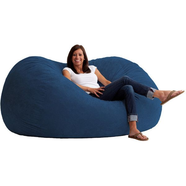 Big Joe XL Fuf Chair ($158) ❤ liked on Polyvore featuring home, furniture, chairs, blue, colored bean bags, blue bean bag chair, blue furniture, plush chair and blue chair