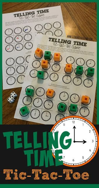 FREE Telling Time Tic Tac Toe Game - this is such a fun, clever NO PREP clock game to help kids learn to tell time to the hour. There are 2 ways to play to reinforce identifying clocks and drawing hour hands: reusable and NO PREP!! Perfect for prek, kinde