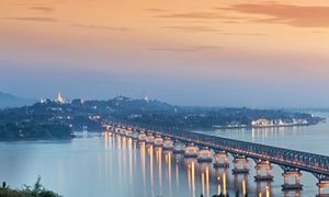 A view over the Salween bridge towards Mawlamyine./// Mystic river: a view over the Salween bridge towards Mawlamyine. Photograph: AlexRobinson /JAI/Corbis