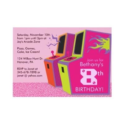 Girl's Arcade, Video Game, Birthday Party Invitations    http://rlv.zcache.com/video_game_birthday_party_invitations-p161023905466749336en75o_325.jpg