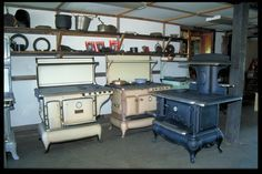 Stoves in 1910 | Vintage Combination Gas/Wood Dual Fuel Antique Kitchen Cook Stoves.